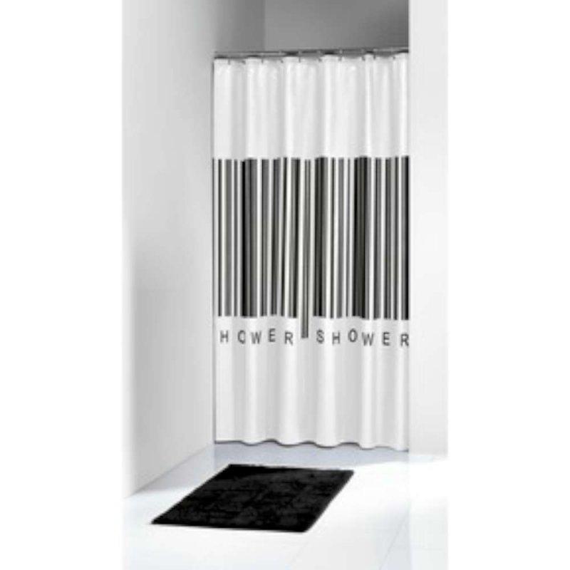 sealskin douchegordijn barcode zwart 180cm douchegordijnen