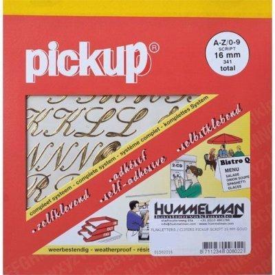 Pickup Plakletters 16mm Goud Script - Assorti