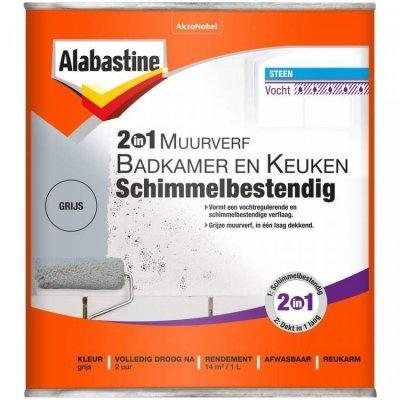 Alabastine Bad en Keuken 2 in 1 muurverf grijs 1000 ml