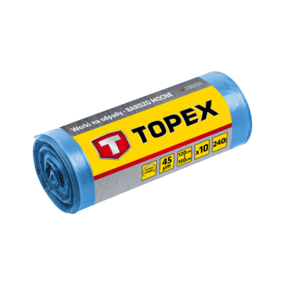 Topex Vuilniszakken Grofvuil 150x120cm PE Blauw 10 Stuks
