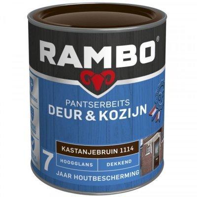 Rambo Deur en Kozijn pantserbeits hoogglans dekkend kastanje bruin 1114 750ml
