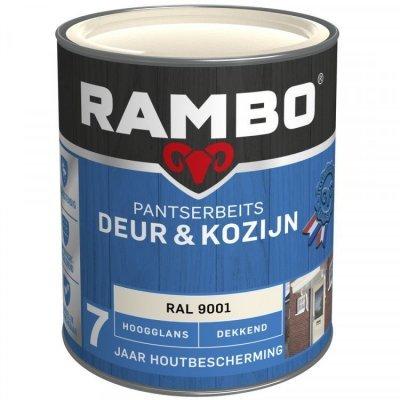 Rambo Deur en Kozijn pantserbeits hoogglans dekkend RAL 9001 750ml
