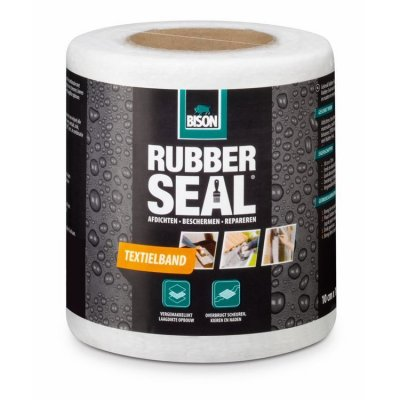 Bison Rubber Seal textielband 10cm Rol 10 Meter