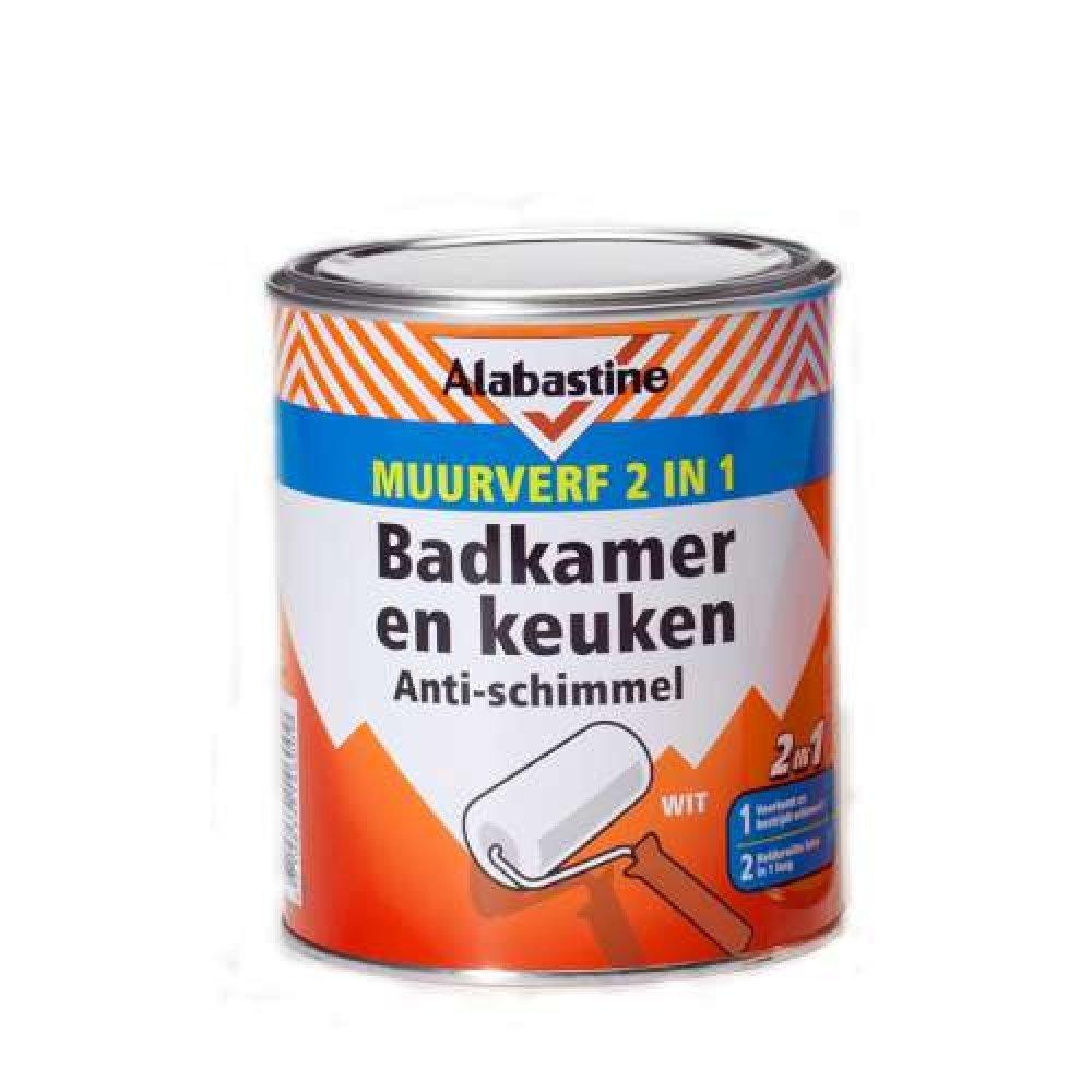 Alabastine muurverf 2in1 voor badkamer en keuken wit 1 liter winkel ...
