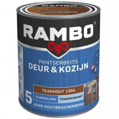 Rambo Deur en Kozijn pantserbeits zijdeglans transparant teakhout 1204 750ml
